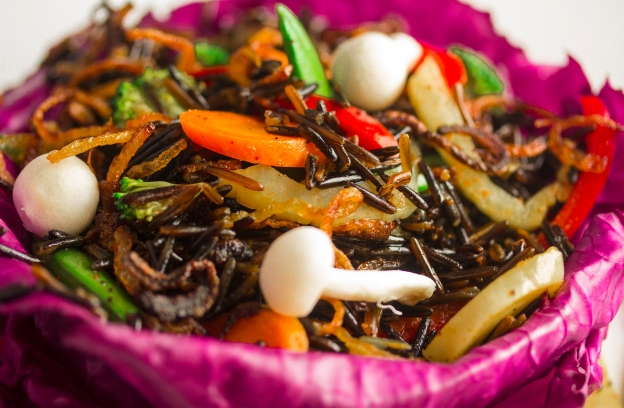 A Stir fry with wild rice and vegetables