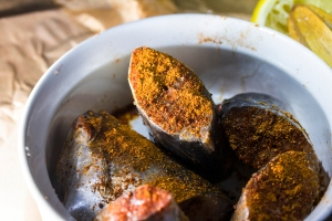 Spanish Mackerel marinating with spice blend, fresh lemon and sea-salt